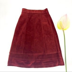 Vintage 70s Suede Leather Midi Skirt A Line Red